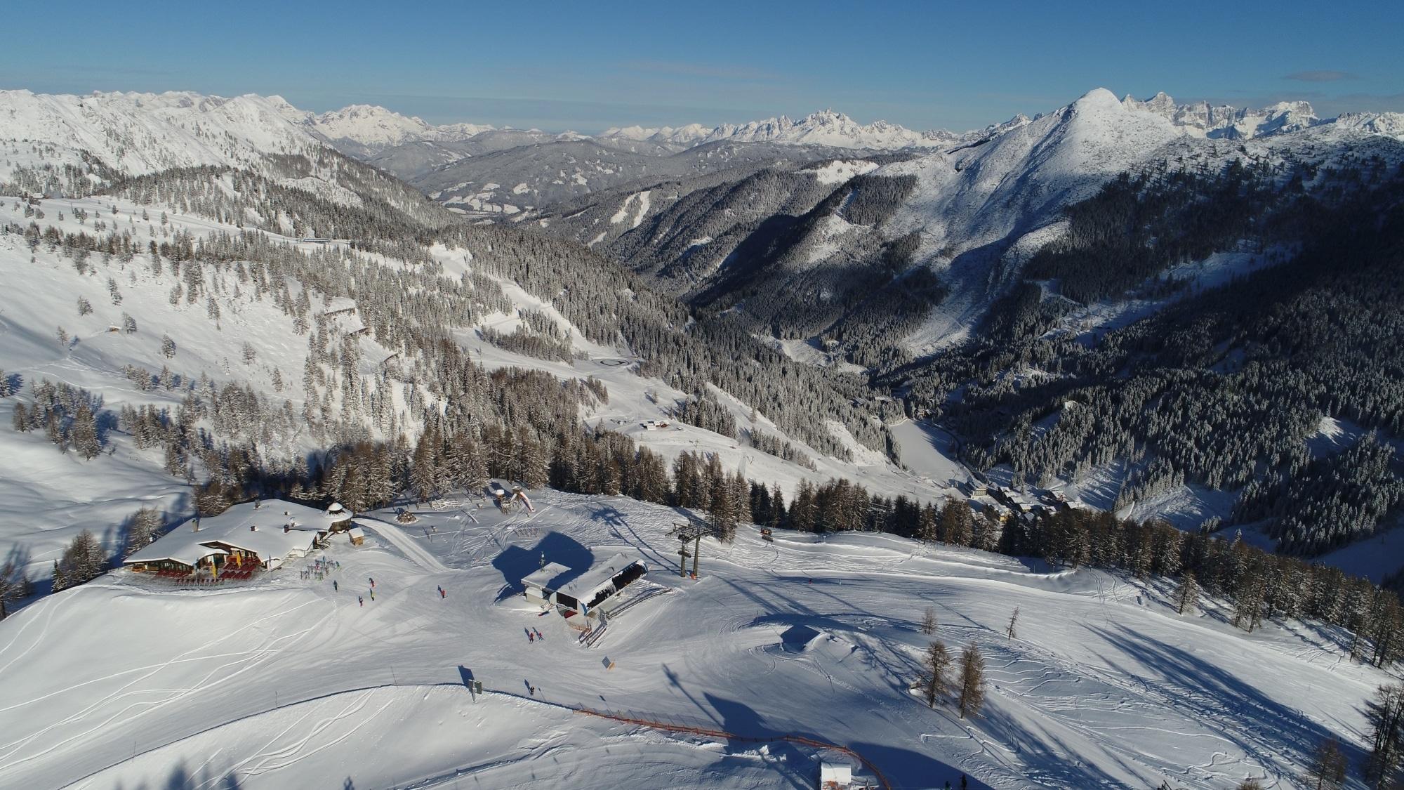 Skigebiet Zauchensee von oben