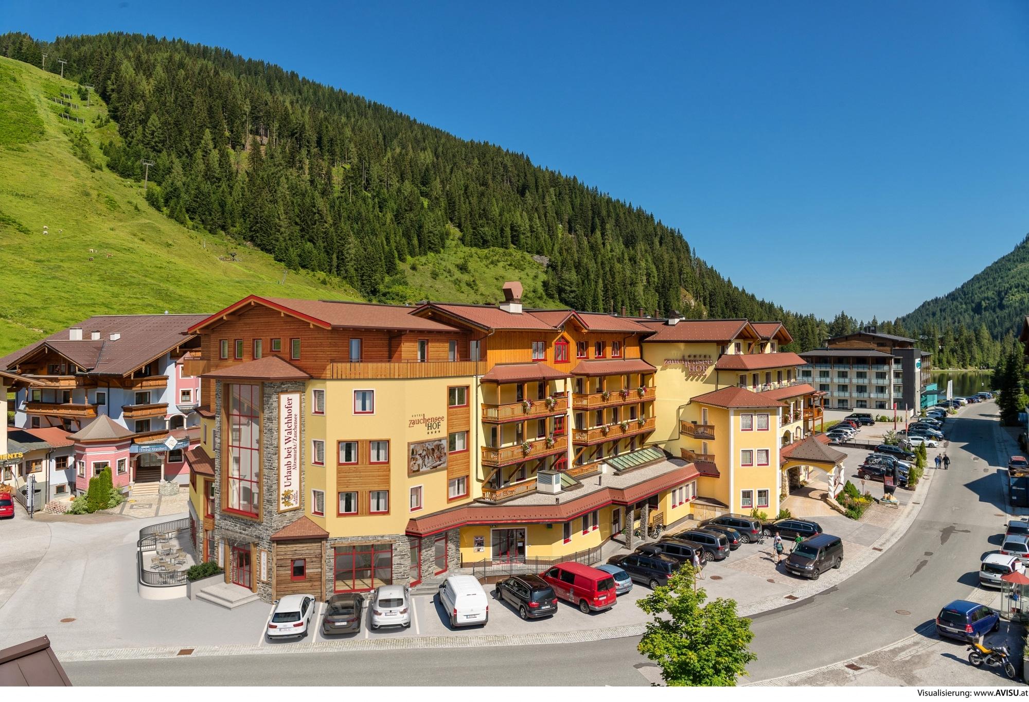 Hotel Zauchenseehof von außen im Sommer