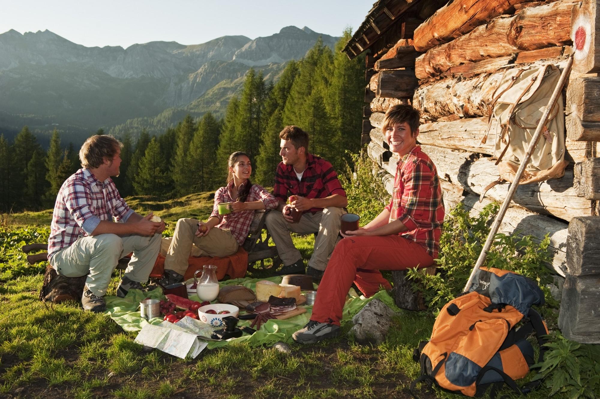 Freunde beim Picknicken auf der Alm in Zauchensee