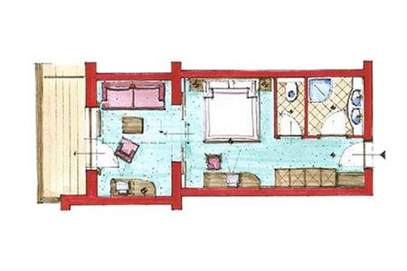 Grundriss von einem 2-Raum-Appartement im Hotel Zauchenseehof