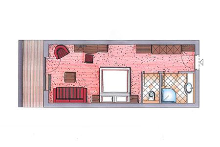 Grundriss von einem Doppelzimmer im Hotel Zauchenseehof