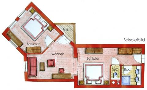 Grundriss von einem 3-Raum-Appartement im Hotel Zauchenseehof