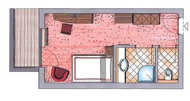 Grundriss von einem Einzelzimmer im Hotel Zauchenseehof
